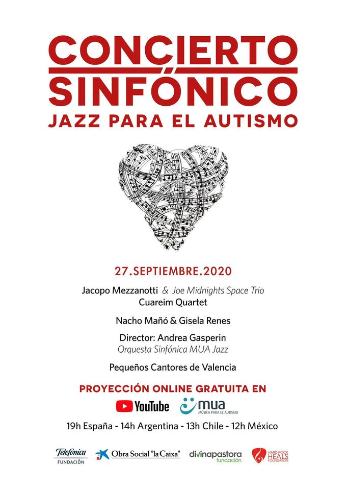 """Proyección online gratuita del Concierto Sinfónico """"Jazz para el Autismo"""" en nuestro canal de Youtube"""